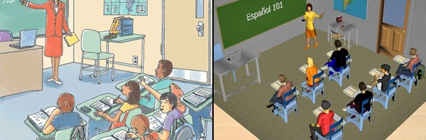 Figure 1. Image on the left represents the textbook classroom. The image on the right represents the 3D models developed for the Experiment 1